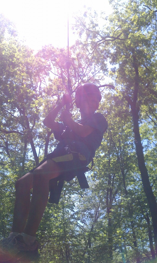 Being lowered from 25 feet up in the trees 05.20.12
